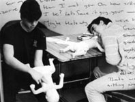 Darren and Brendan learning CPR, 1986