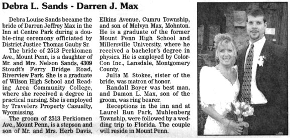 Deb and Darren Max, wedding announcement from the 6/21/98 Reading Eagle/Times
