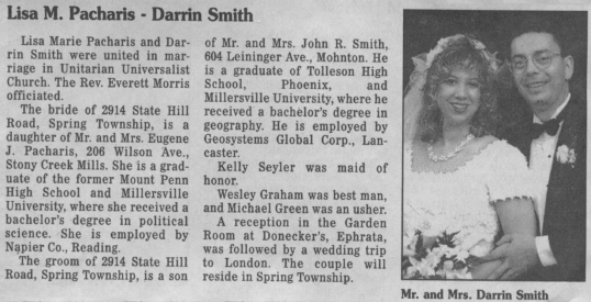Lisa Pacharis - Darrin Smith Wedding Announcement from the Reading Eagle/Times