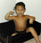 My god...the kid's only 2-1/2 and he already looks like a little bodybuilder