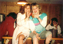 Stephanie and Kelly drinking...hmm...I suppose non-alcoholic beverages because we weren't 21 yet.