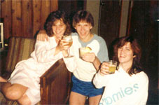 Steph, some cute guy with really short shorts and a non-matching shirt, and Suzanna drinking...umm...juice.