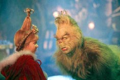 Molly Shannon as Cindy Lou-Who and Jim Carrey as The Grinch