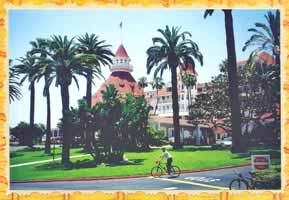 Cool guy on bike in front of Hotel del Coronado