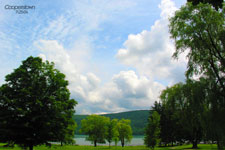Near the Cooperstown golf course with the lake in the background