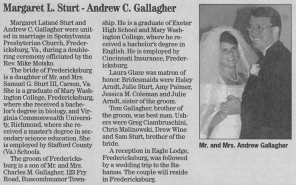Drew & Margaret's wedding announcement from the 8/26/01 Reading Eagle/Times