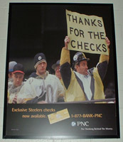 Joe Esposito on a PNC Bank ad at Heinz Field