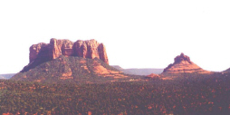 Red Rocks of Sedona thru a panoramic camera