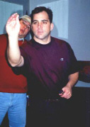 Steve throwing a dart.....and Mike