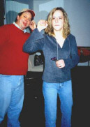 Nicola about to throw a dart......and Mike